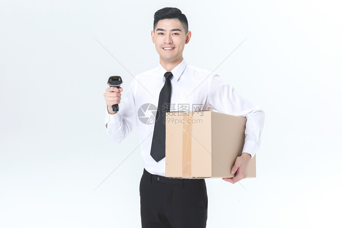仓储货运男性工作形象白底图片