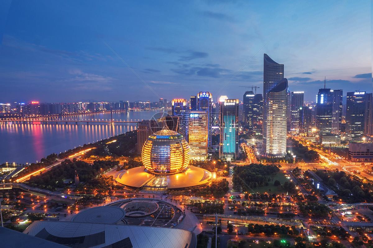 夜色杭州城图片