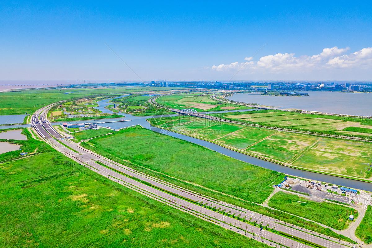 上海南汇航拍自然风光图片