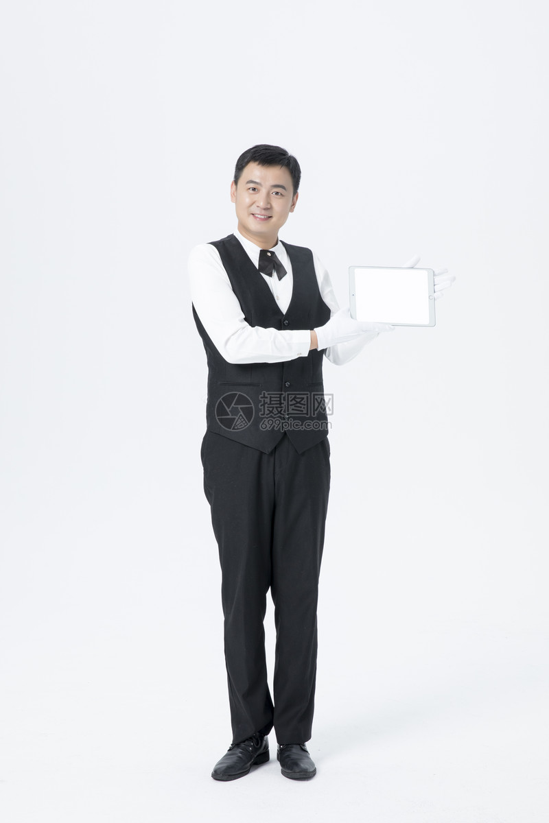 男服务员平板电脑点菜图片
