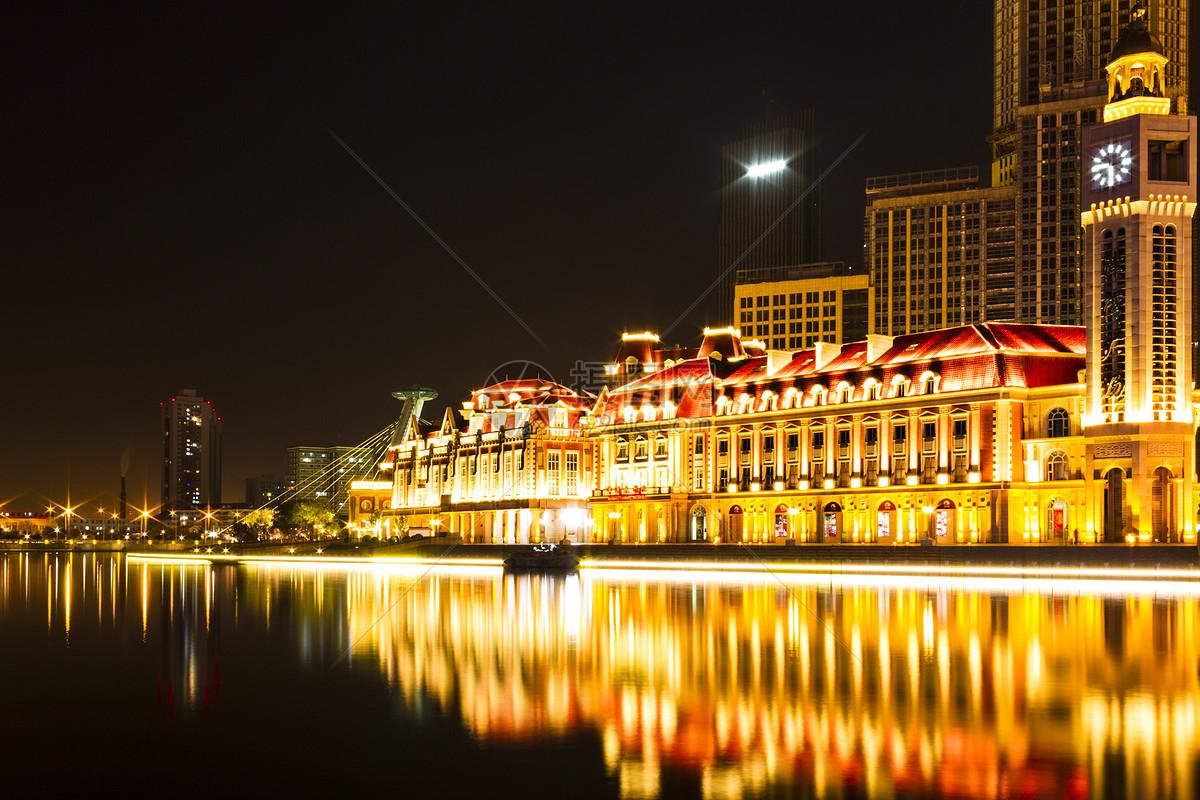 天津城市夜景风光图片