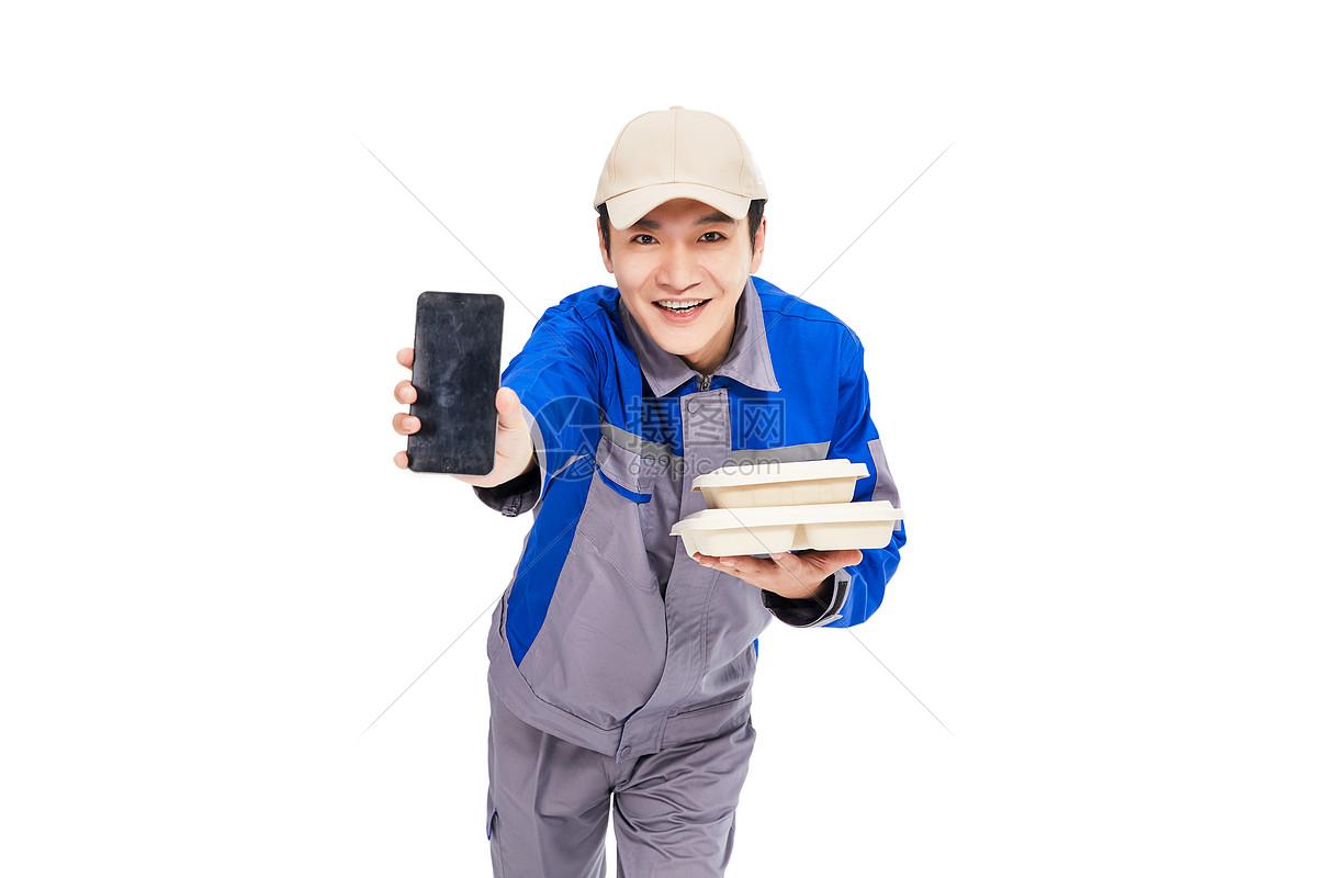 送餐的外卖人员图片