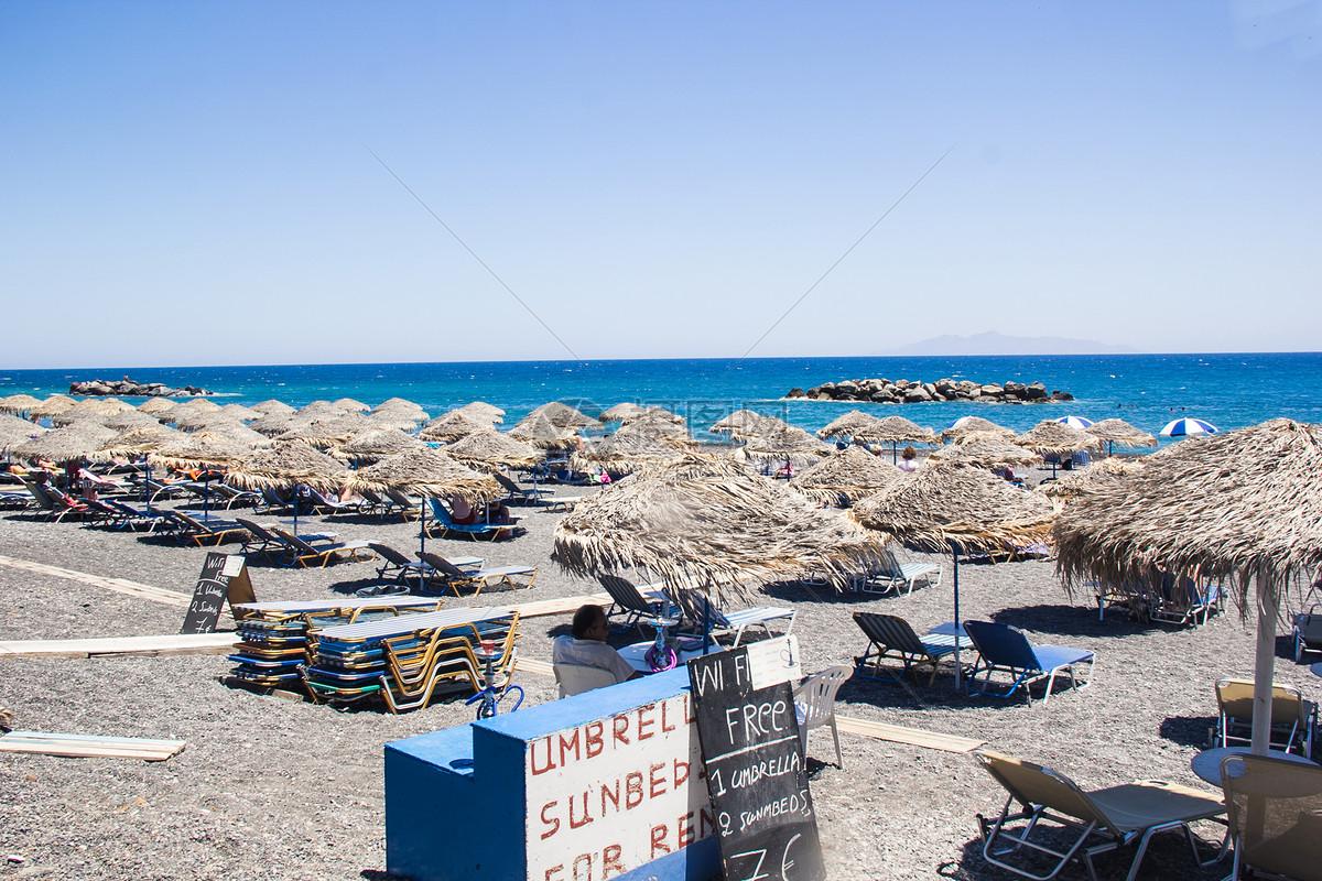 希腊圣托里尼黑沙滩图片