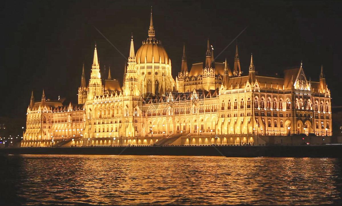 匈牙利国会大厦夜景图片