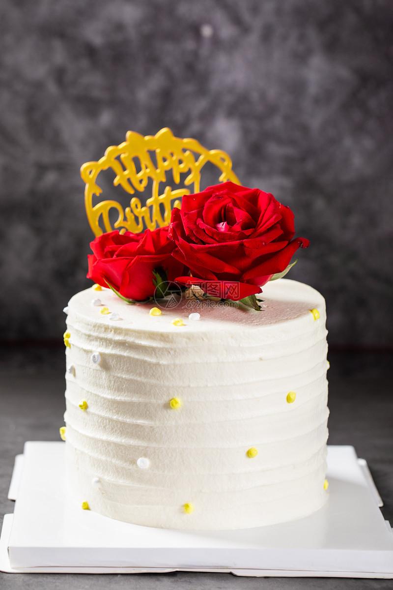 玫瑰花生日蛋糕图片