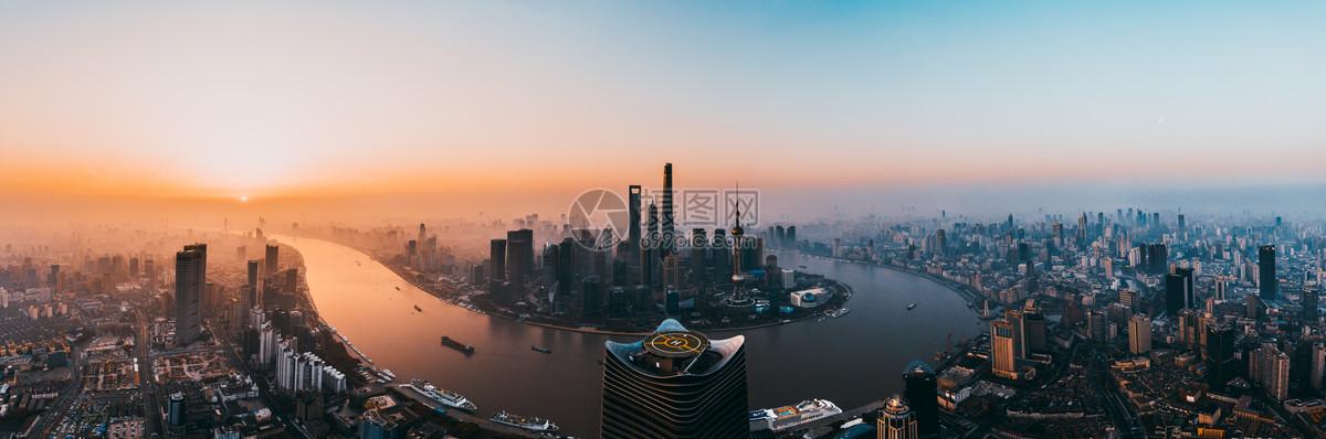 上海陆家嘴日出全景图图片