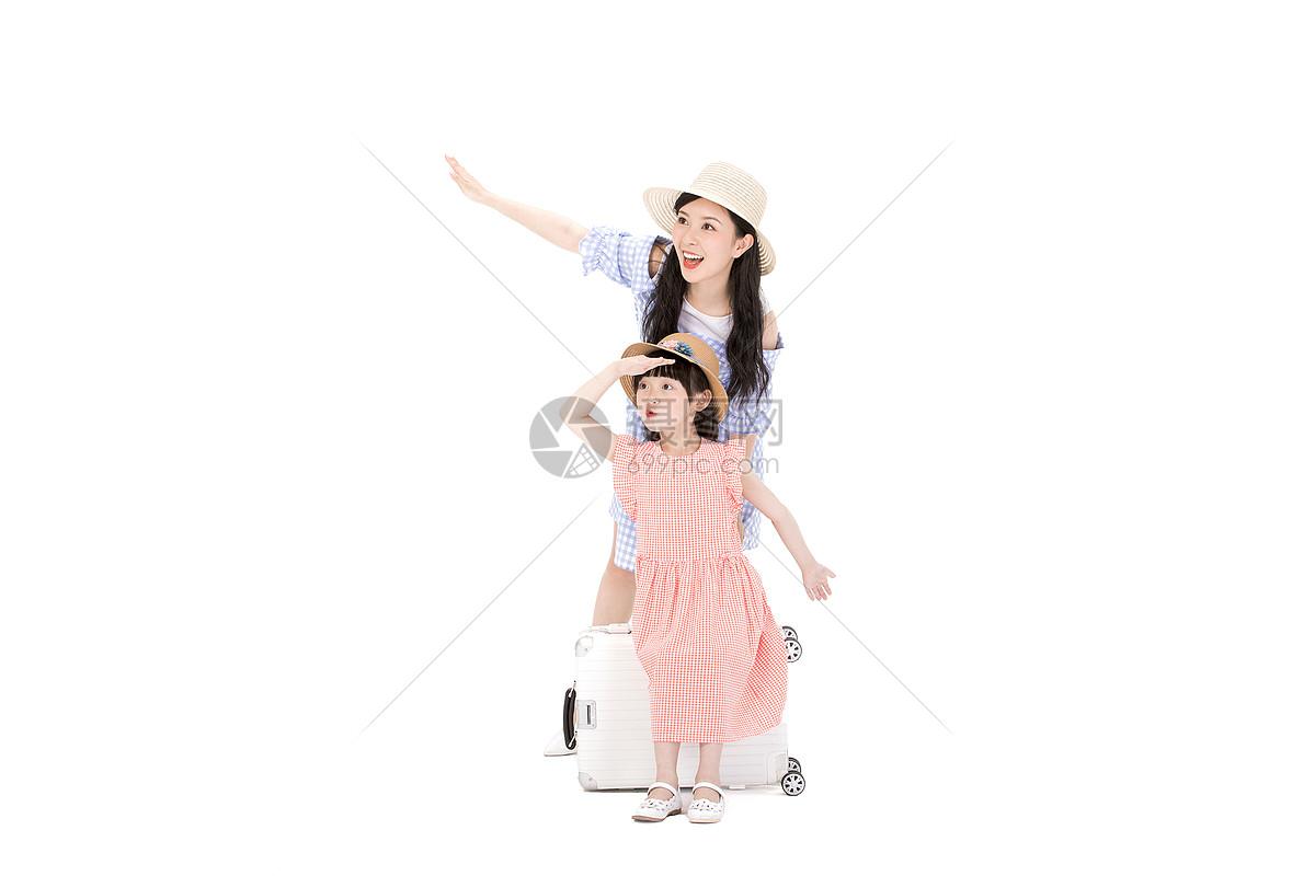 可爱母女一起旅行图片