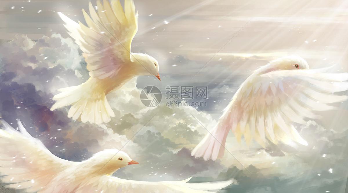 在蓝天白云间自由翱翔的和平鸽图片