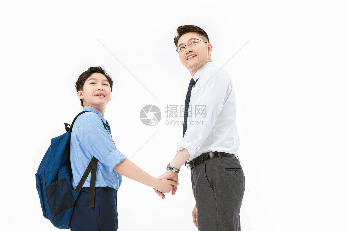 父子一起上班上学图片